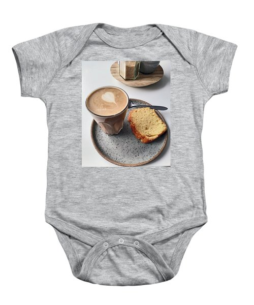 Cafe. Latte And Cake.  Baby Onesie