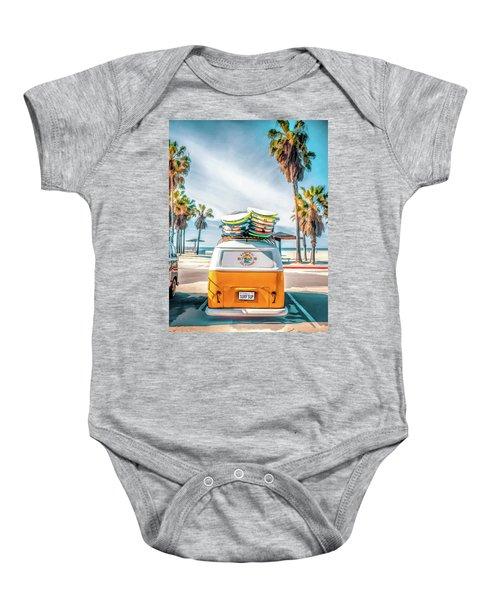 California Surfer Vw Camper Van Baby Onesie