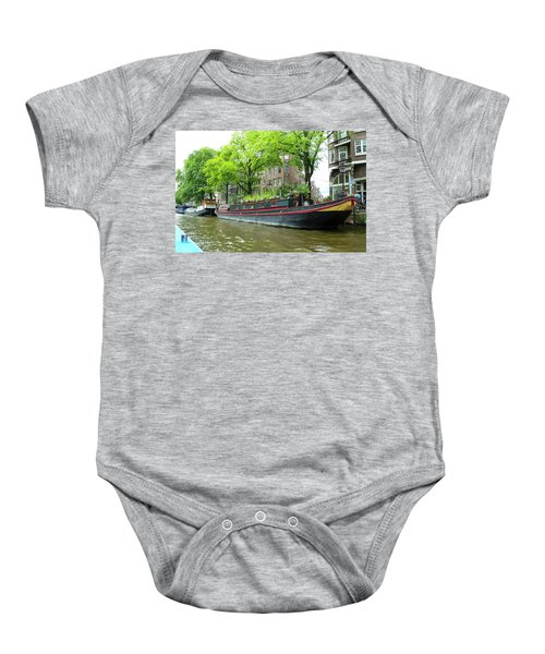 Canal Boats In Amsterdam - 2 Baby Onesie