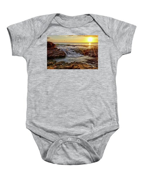Cascading Sunset At Crystal Cove Baby Onesie