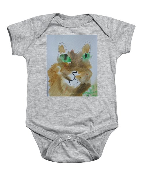Cat Face Yellow Brown With Green Eyes Baby Onesie