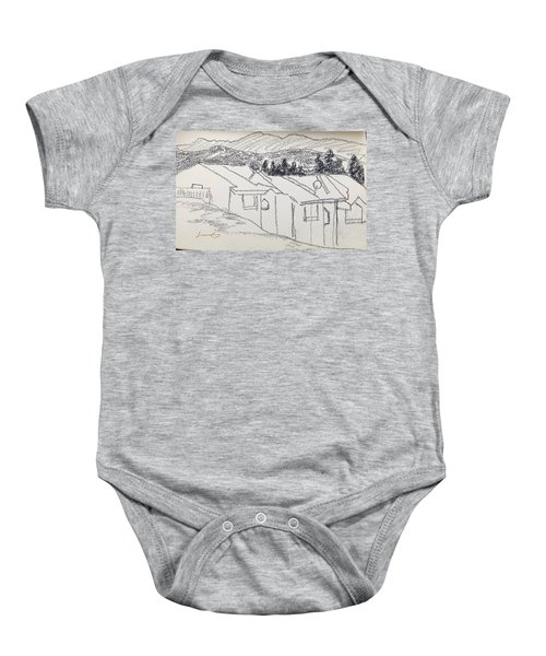 Charcoal Pencil Houses1.jpg Baby Onesie