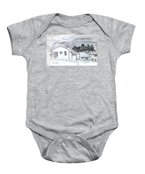Charcoal Pencil Houses.jpg Baby Onesie