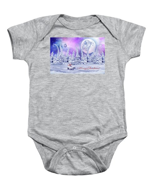 Christmas Card With Ice Skates Baby Onesie