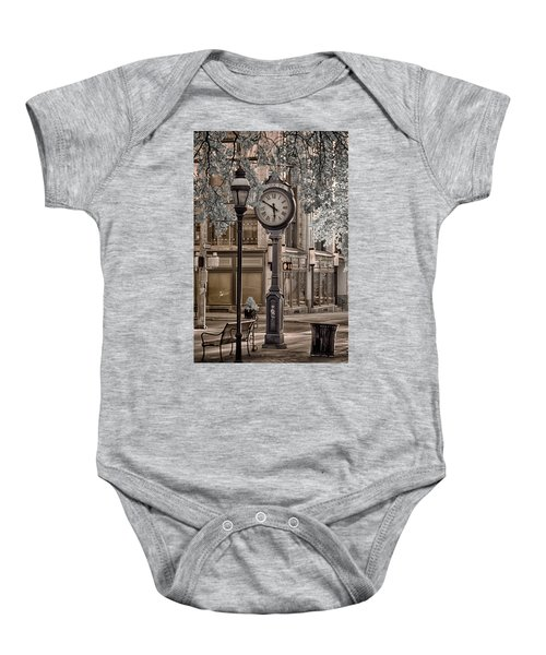 Clock On Street Baby Onesie