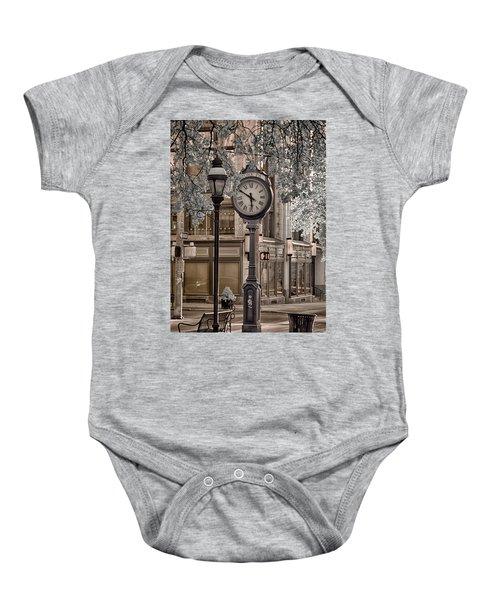 Clock On Street Baby Onesie