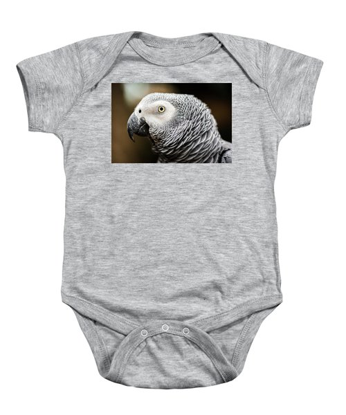 Close Up Of An African Grey Parrot Baby Onesie