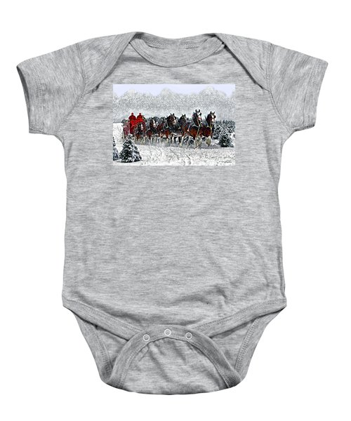 Clydesdales Hitch In Snow Baby Onesie