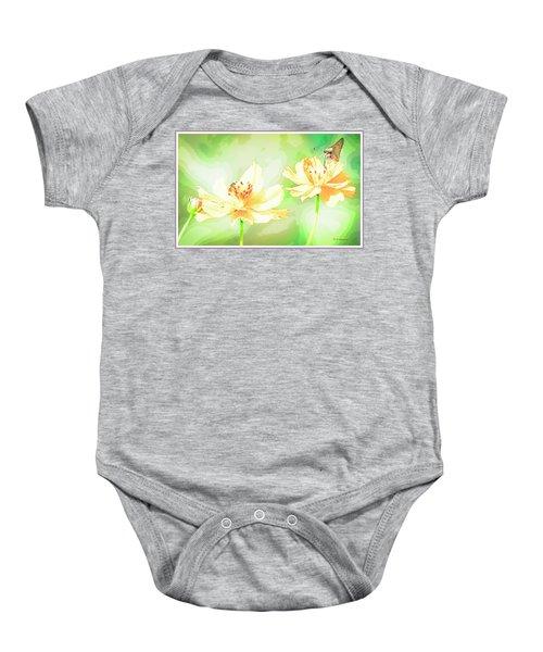 Cosmos Flowers, Bud, Butterfly, Digital Painting Baby Onesie