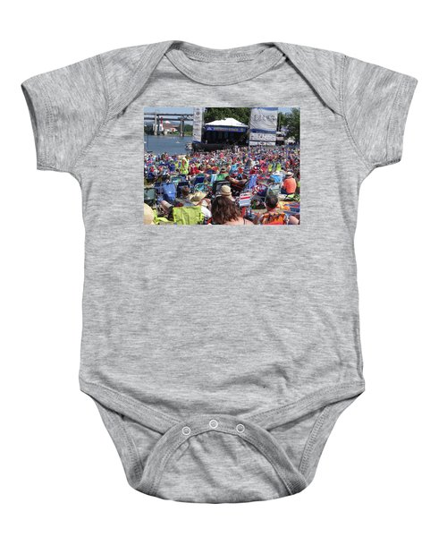 Crowd Enjoys Listening On A Sunny Day  Baby Onesie