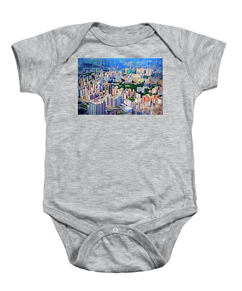 Crowded Hong Kong Abstract Baby Onesie