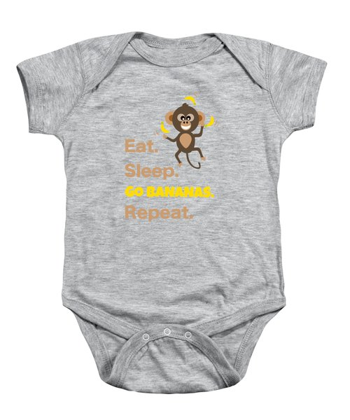 Cute Animal Money Juggling With Text Eat Sleep Go Bananas Popular Quote Baby Onesie