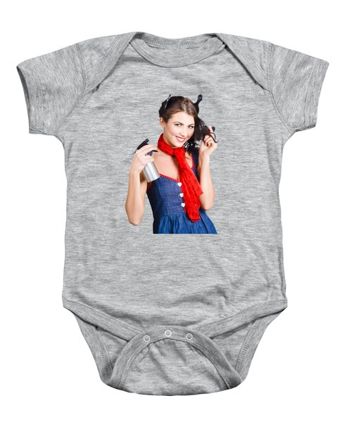 Cute Girl Model Styling A Hairdo. Pinup Your Hair Baby Onesie