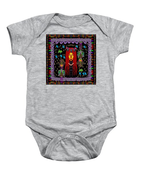 Demonic Madonna With Rose Skulls And Baby Bears With Hats Baby Onesie