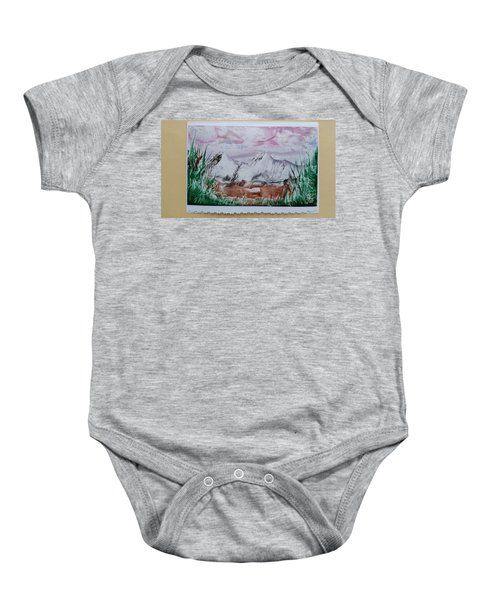 Distant Impressionistic Mountains Baby Onesie