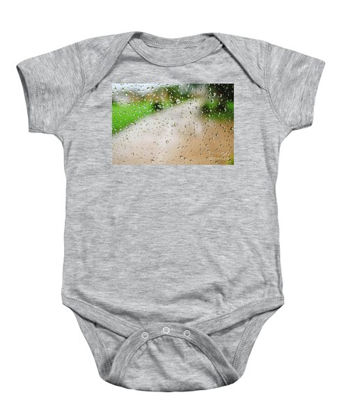 Drops Of Rain On An Autumn Day On A Glass. Baby Onesie