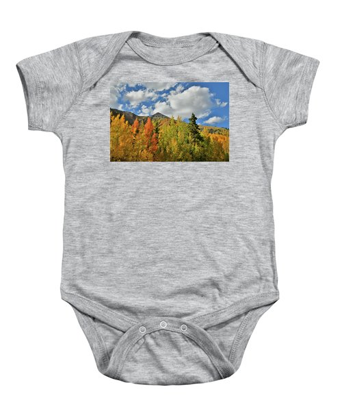 Fall Colored Aspens Bask In Sun At Red Mountain Pass Baby Onesie