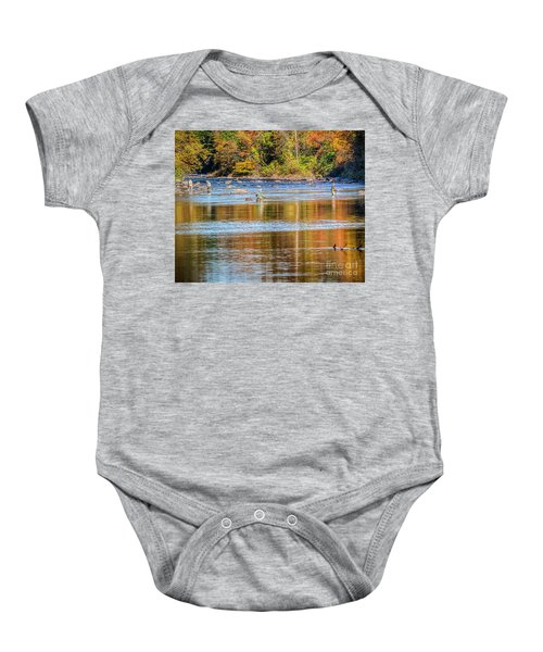 Fall Fishing Reflections Baby Onesie