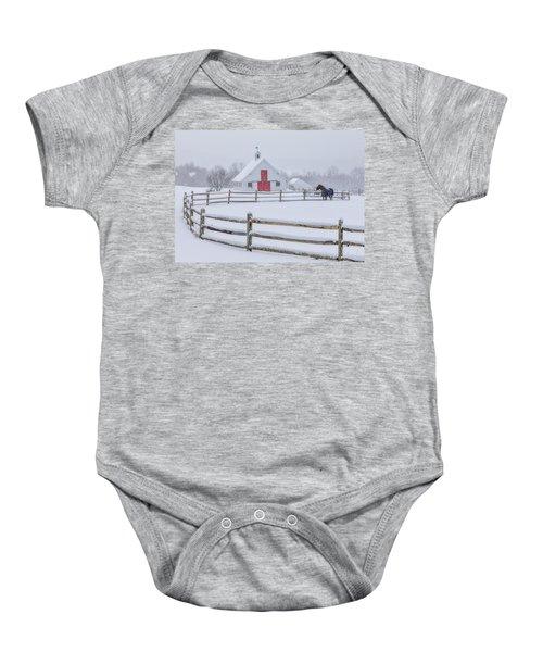 Farm In The Snow Baby Onesie
