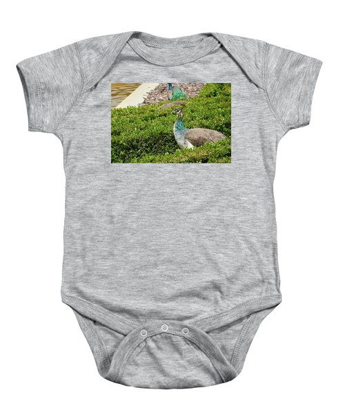 Female Peafowl At The Gardens Of Cecilio Rodriguez In Madrid, Spain Baby Onesie