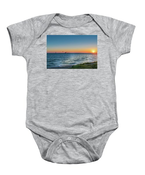 Ferry Going Into Sunset Baby Onesie