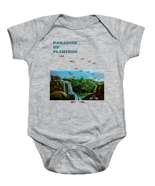 Fish Lake And Flamingo Paradise Baby Onesie