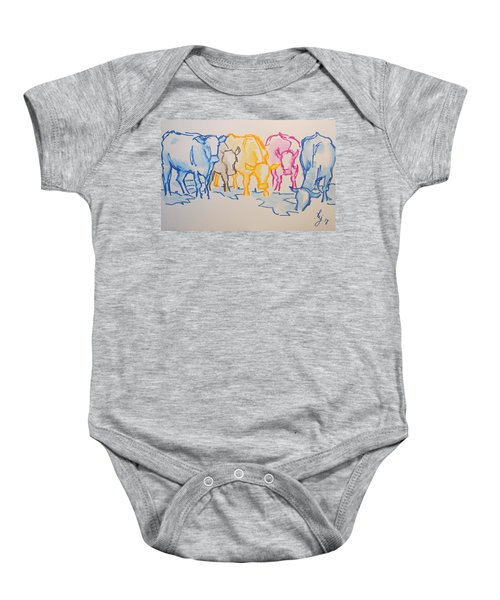 Five Cows Five Colors Watercolor Line Drawing Baby Onesie