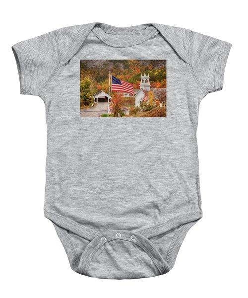 Flag Flying Over The Stark Covered Bridge Baby Onesie