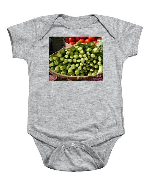 Fresh Baby Corn And Ripe Tomatoes Baby Onesie