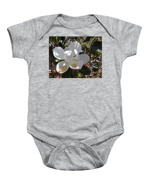 Gigantic White Magnolia Blossoms Blowing In The Wind Baby Onesie