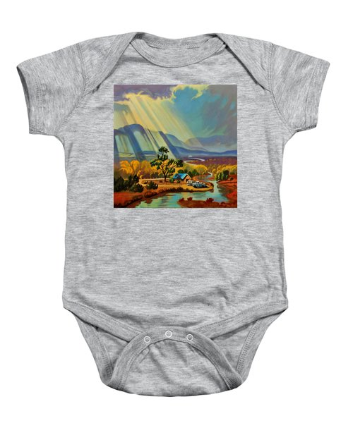 God Rays On A Blue Roof Baby Onesie