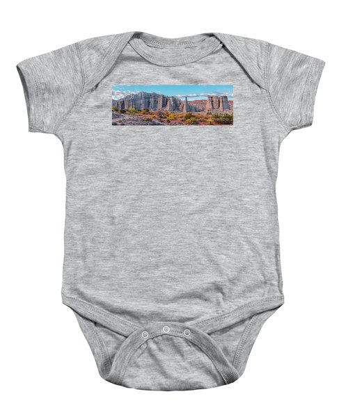 Golden Hour Fall Panorama Of Plaza Blanca - Abiquiu Rio Arriba County New Mexico Baby Onesie