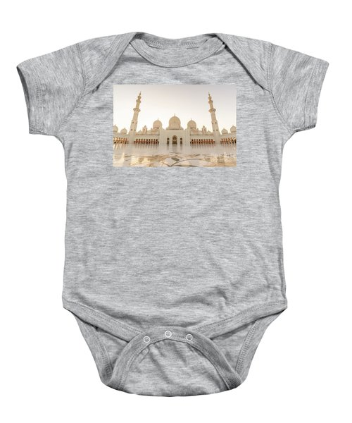 Grand Mosque In Abu Dhabi At Sunset Baby Onesie