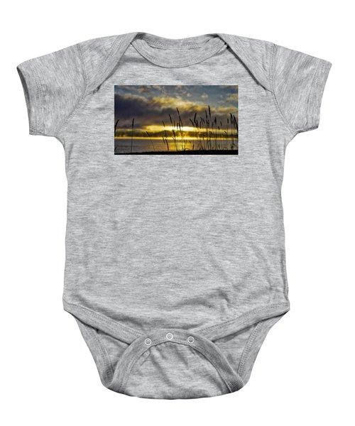 Grassy Shoreline Sunrise Baby Onesie