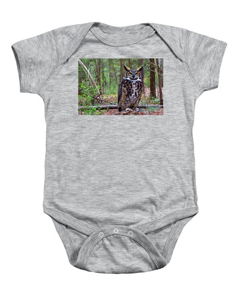 Great Horned Owl Standing On A Tree Log Baby Onesie
