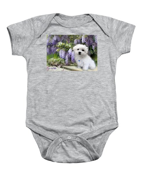 Baby Onesie featuring the pyrography Hermes And Wisteria by Morag Bates