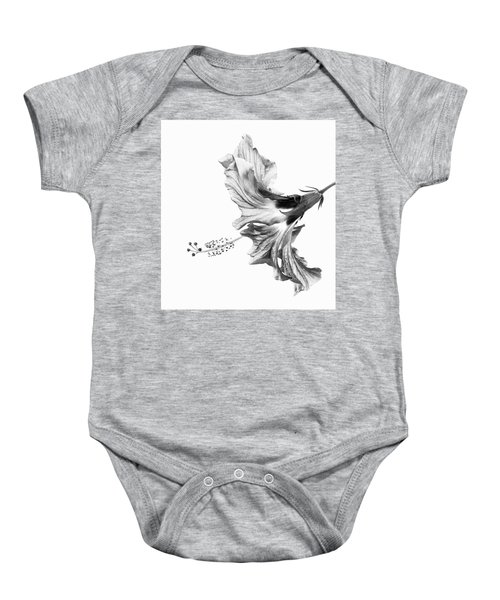 Hibiscus In Black And White Baby Onesie