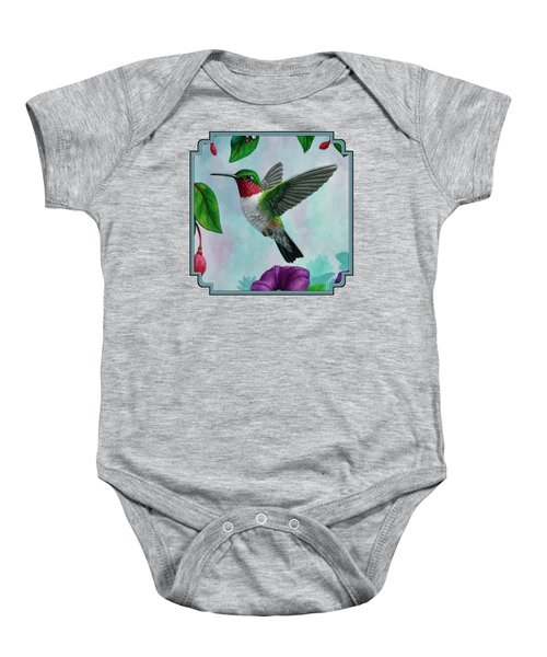 Hummingbird Flying In Spring Flower Garden 2 Baby Onesie