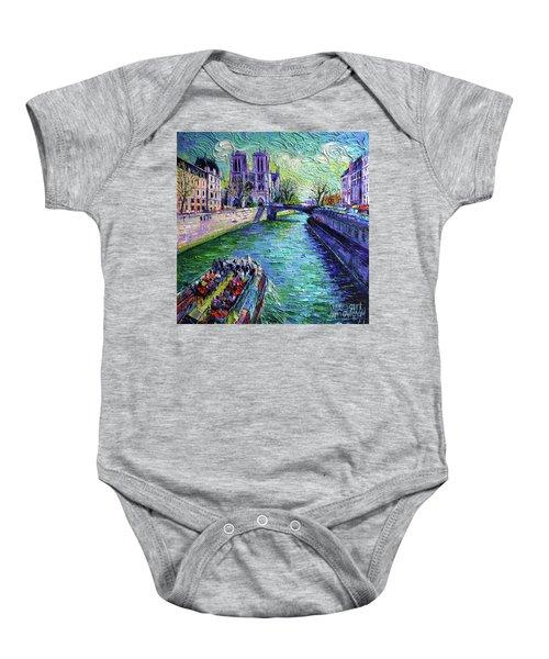 I Love Paris In The Springtime - Notre Dame De Paris And La Seine Baby Onesie