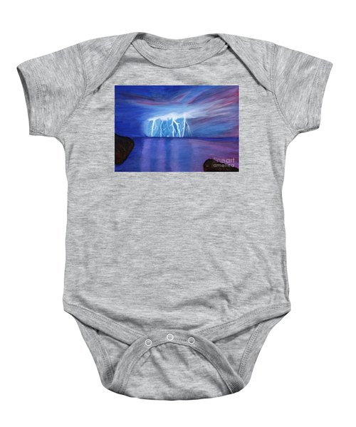 Lightning On The Sea At Night Baby Onesie