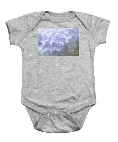 Lilac Blooms With Quote Baby Onesie