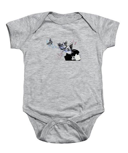 Long Gone Whisper IIi - Blue - Butterfly Girl Spray Paint Graffiti Painting Baby Onesie