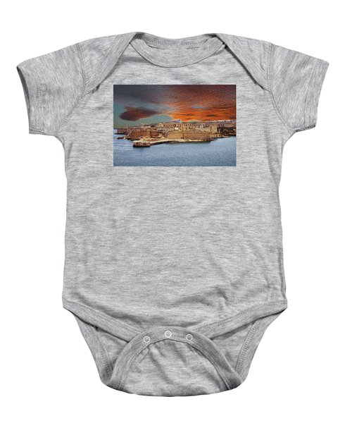 Looking Across Harbor From Fort St Elmo To  Fort Rikasoli Baby Onesie