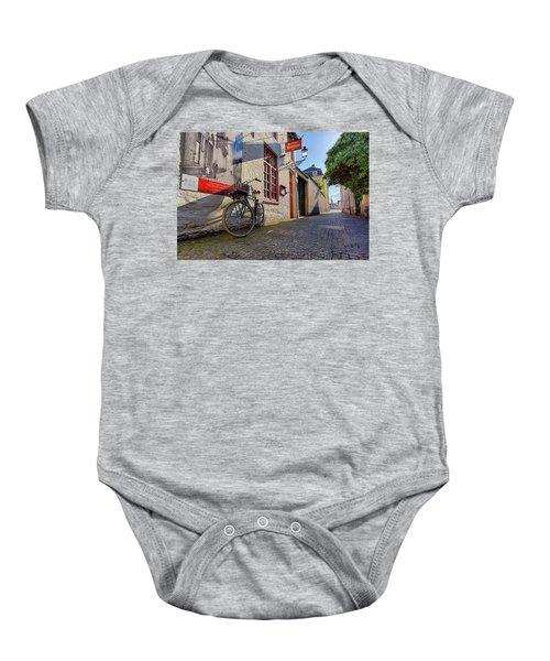 Lux Cobblestone Road Brugge Belgium Baby Onesie