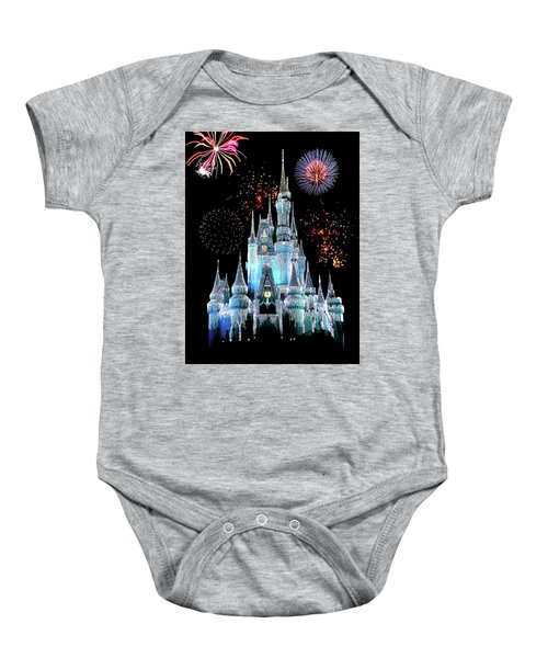 Magic Kingdom Castle In Frosty Light Blue With Fireworks 06 Baby Onesie