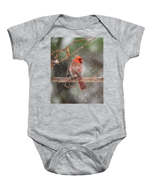 Male Red Cardinal Snowstorm Baby Onesie