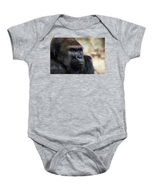 Male Western Gorilla Looking Around, Gorilla Gorilla Gorilla Baby Onesie