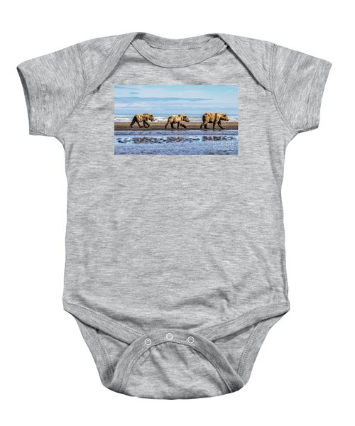 Mama Bear And Her Two Cubs On The Beach. Baby Onesie