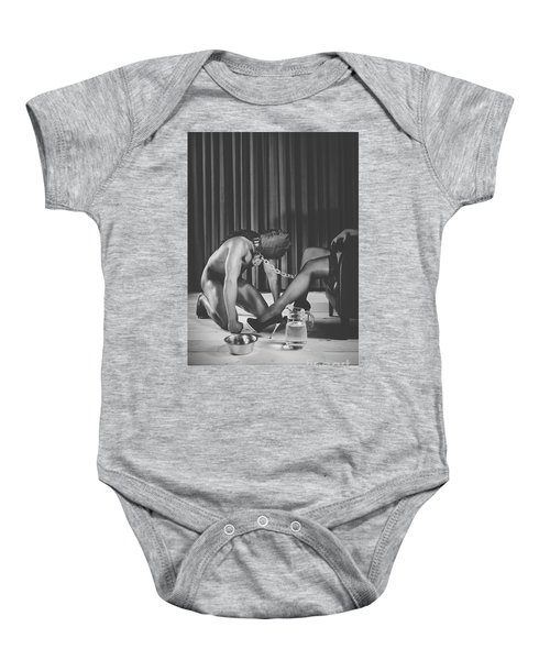 Man With Masked Face On His Knees In Front Of His Mistress Baby Onesie