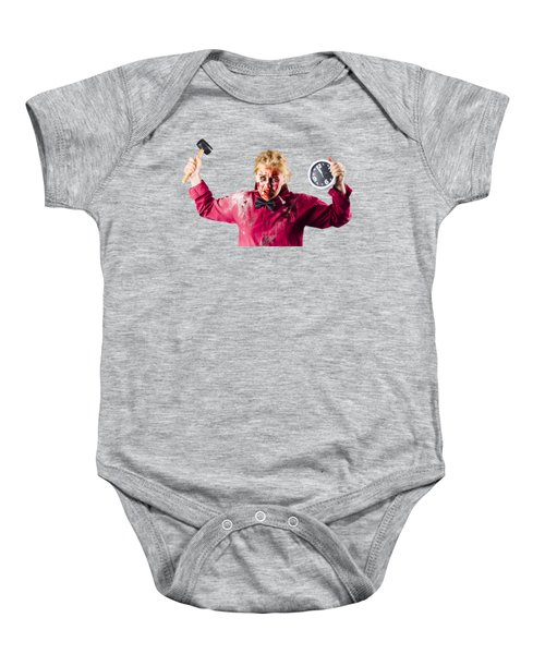 Baby Onesie featuring the photograph Monster With Clock And Hammer by Jorgo Photography - Wall Art Gallery